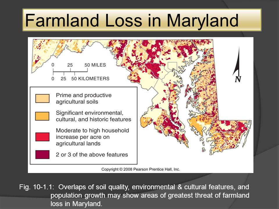 Farmland Loss in Maryland Fig. 10-1.1: Overlaps of soil quality, environmental & cultural features, and population growth may show areas of greatest t
