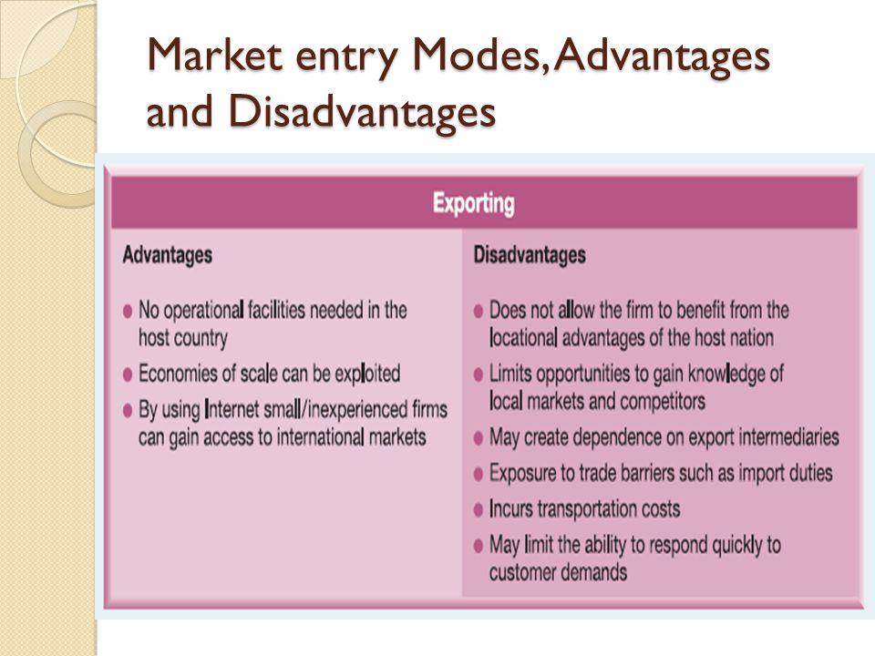 Market entry Modes, Advantages and Disadvantages