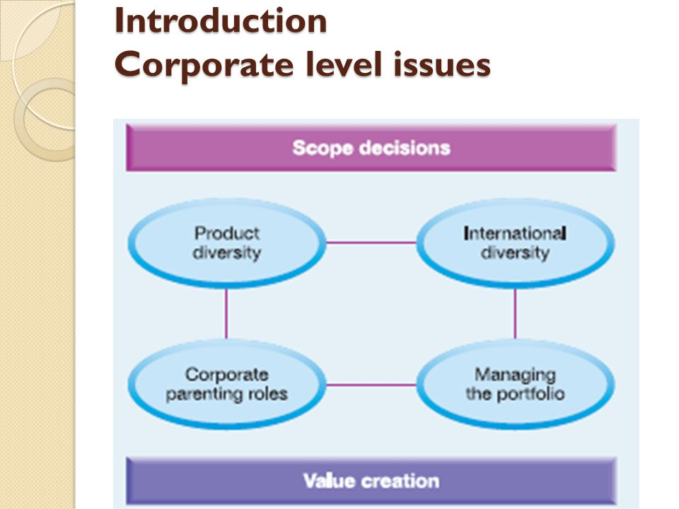 Introduction Corporate level issues
