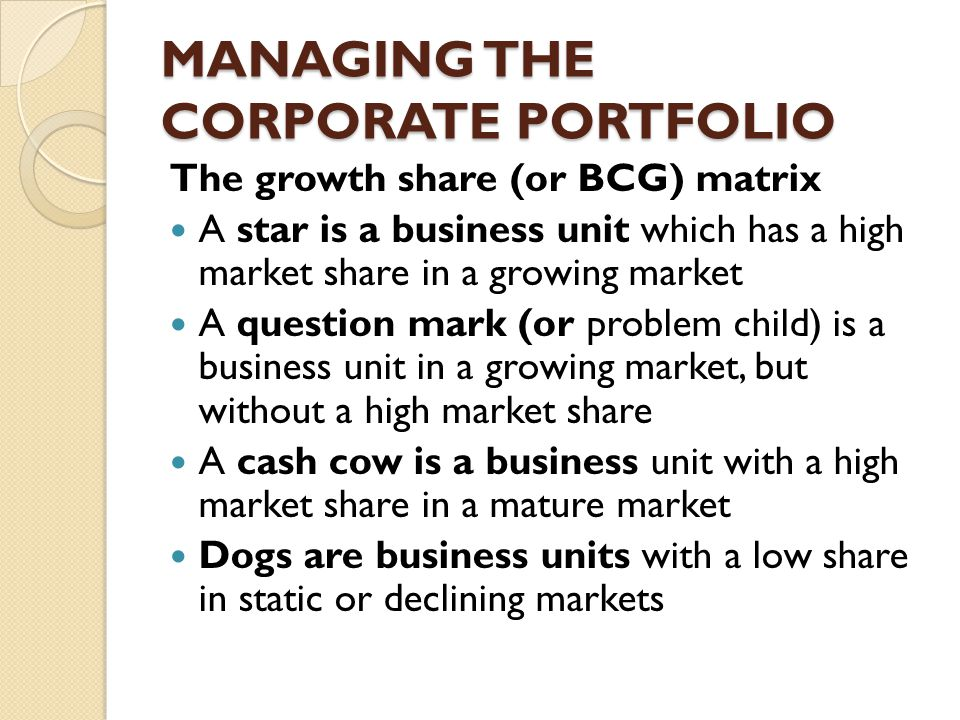 MANAGING THE CORPORATE PORTFOLIO The growth share (or BCG) matrix A star is a business unit which has a high market share in a growing market A question mark (or problem child) is a business unit in a growing market, but without a high market share A cash cow is a business unit with a high market share in a mature market Dogs are business units with a low share in static or declining markets