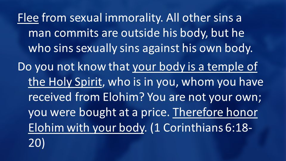 Flee from sexual immorality.