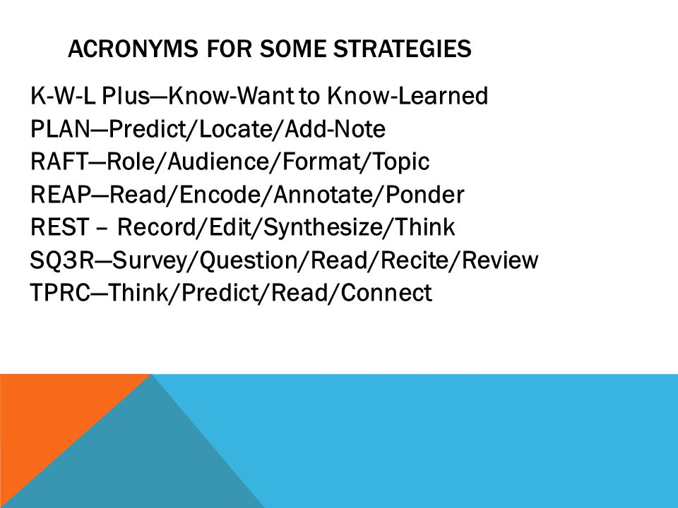 ACRONYMS FOR SOME STRATEGIES K-W-L Plus—Know-Want to Know-Learned PLAN—Predict/Locate/Add-Note RAFT—Role/Audience/Format/Topic REAP—Read/Encode/Annotate/Ponder REST – Record/Edit/Synthesize/Think SQ3R—Survey/Question/Read/Recite/Review TPRC—Think/Predict/Read/Connect