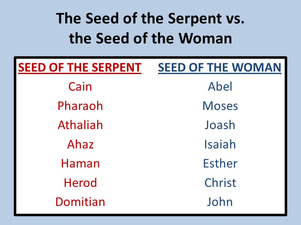 The Seed of the Serpent vs.