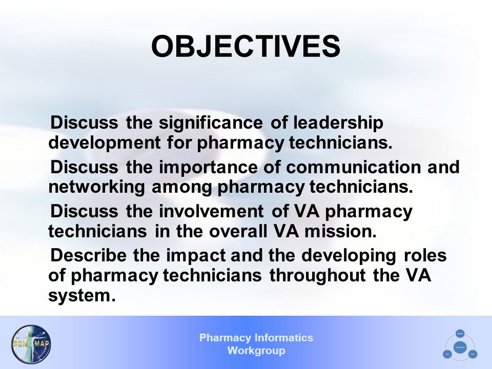 Pharmacy Informatics Workgroup OBJECTIVES Discuss the significance of leadership development for pharmacy technicians.