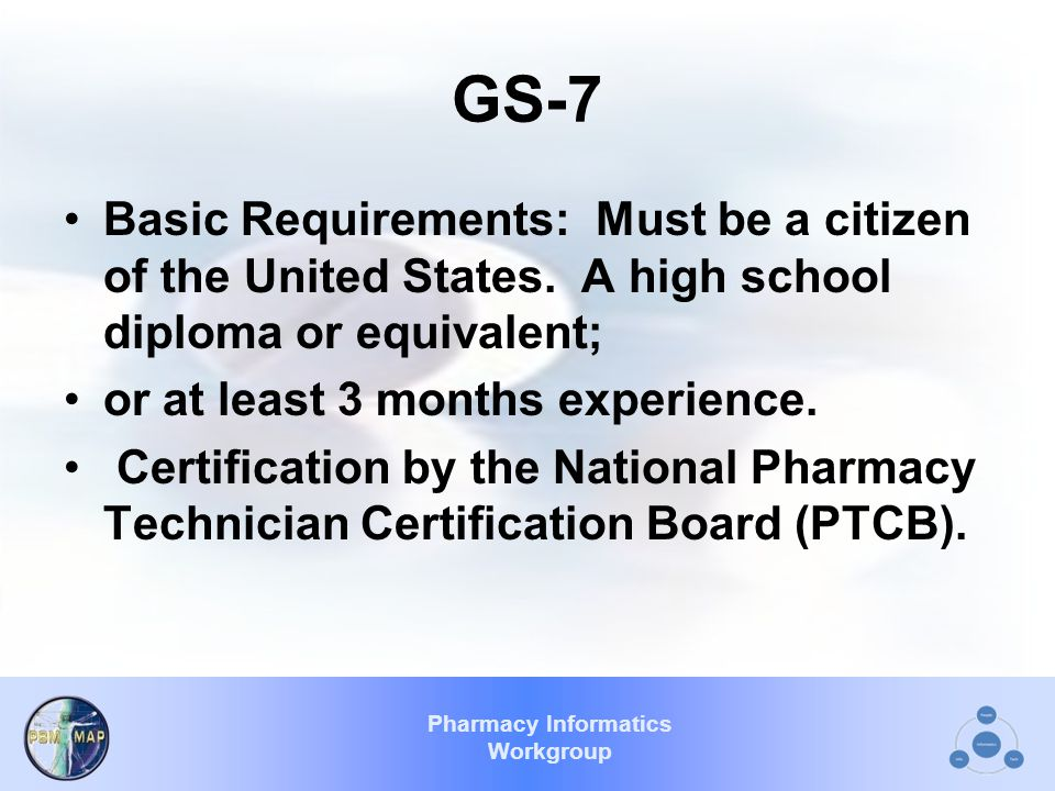 Pharmacy Informatics Workgroup GS-7 Basic Requirements: Must be a citizen of the United States.