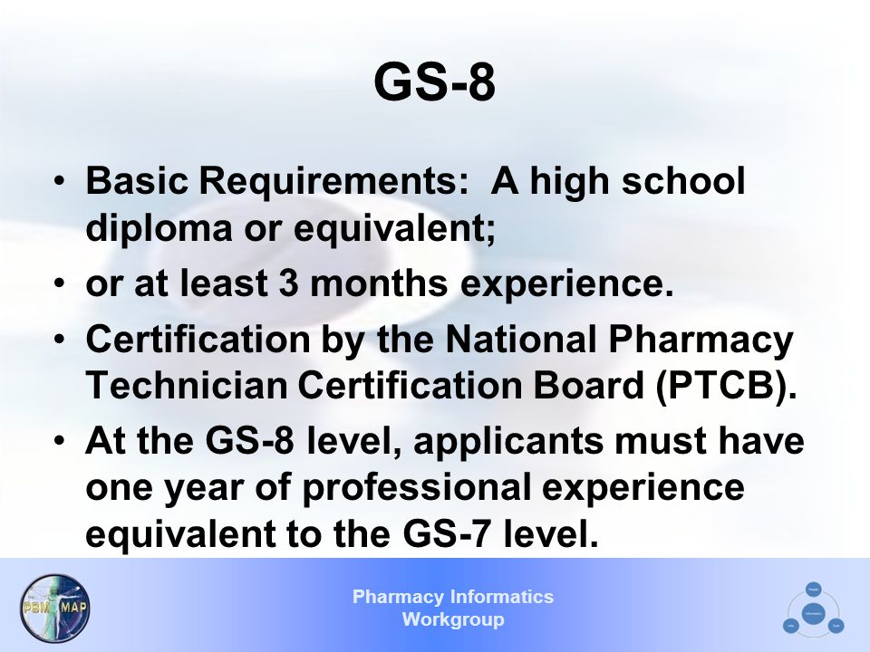 Pharmacy Informatics Workgroup GS-8 Basic Requirements: A high school diploma or equivalent; or at least 3 months experience.