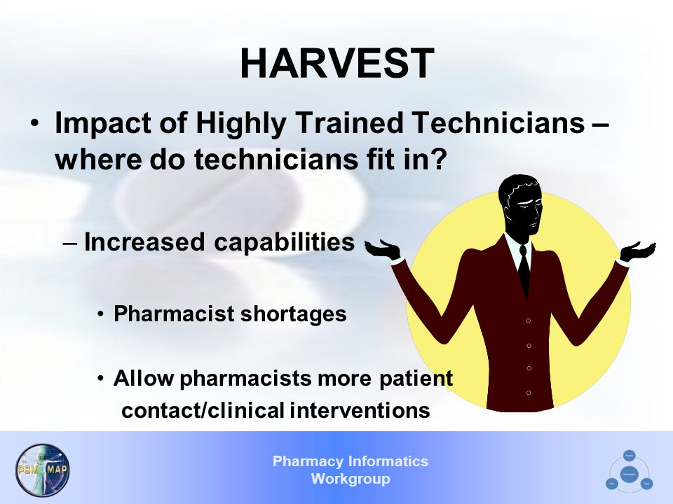 Pharmacy Informatics Workgroup HARVEST Impact of Highly Trained Technicians – where do technicians fit in.