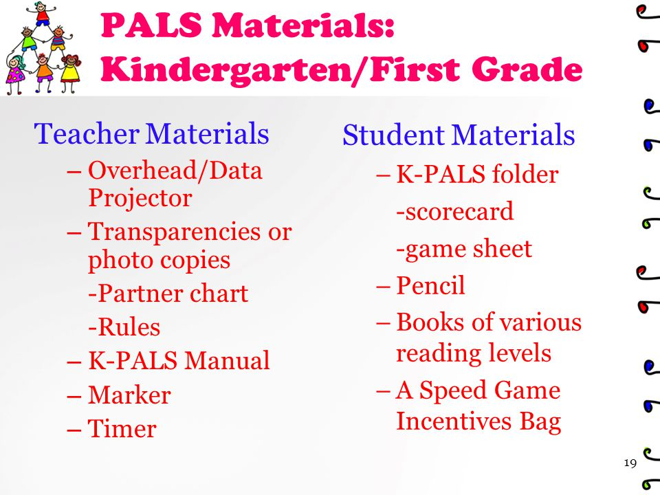 PALS Materials: Kindergarten/First Grade Teacher Materials – Overhead/Data Projector – Transparencies or photo copies -Partner chart -Rules – K-PALS Manual – Marker – Timer Student Materials – K-PALS folder -scorecard -game sheet – Pencil – Books of various reading levels – A Speed Game Incentives Bag 19