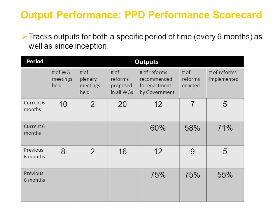  Tracks outputs for both a specific period of time (every 6 months) as well as since inception. Output Performance: PPD Performance Scorecard Period