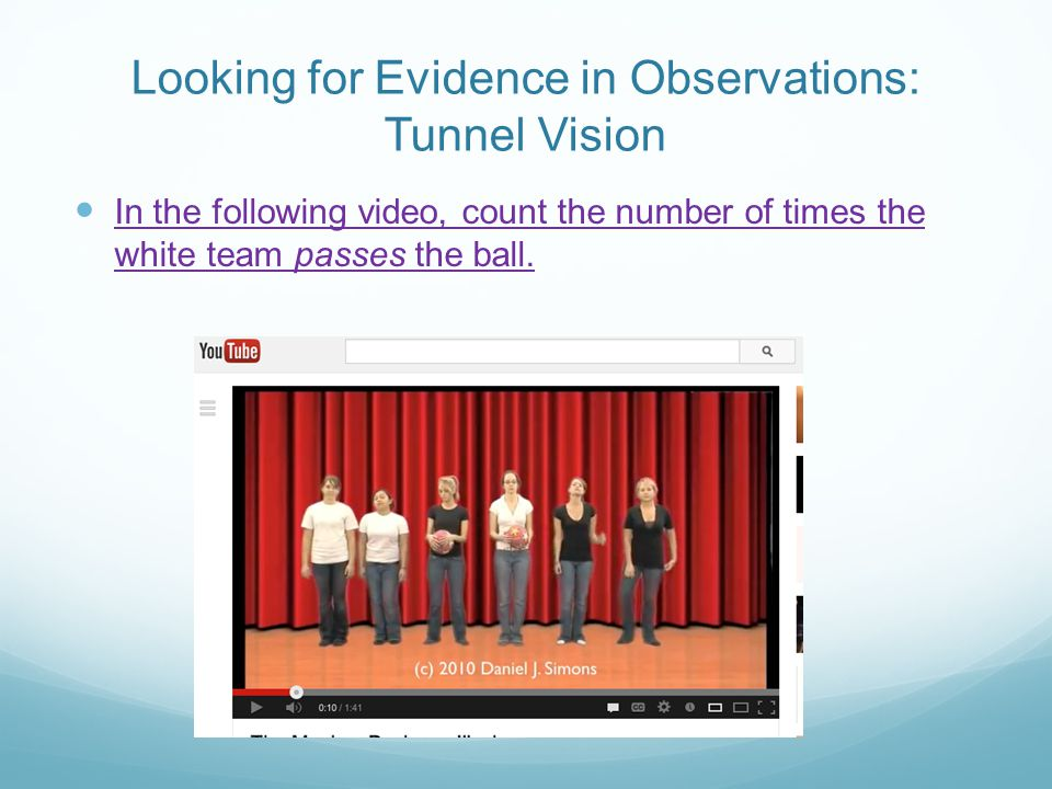 Looking for Evidence in Observations: Tunnel Vision In the following video, count the number of times the white team passes the ball.