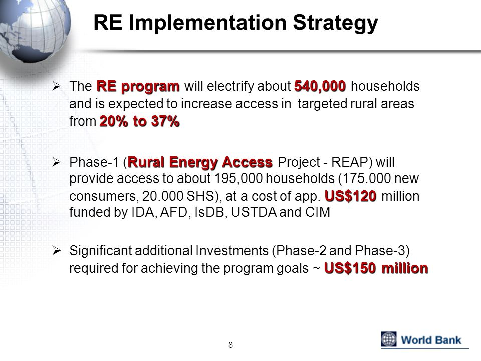 RE Implementation Strategy RE program 540,000 20% to 37%  The RE program will electrify about 540,000 households and is expected to increase access in targeted rural areas from 20% to 37% Rural Energy Access US$120  Phase-1 ( Rural Energy Access Project - REAP) will provide access to about 195,000 households (175.000 new consumers, 20.000 SHS), at a cost of app.