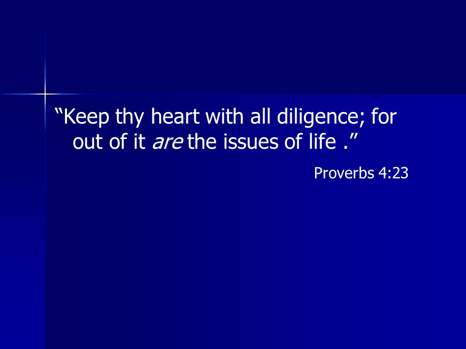 """""""Keep thy heart with all diligence; for out of it are the issues of life."""" Proverbs 4:23"""