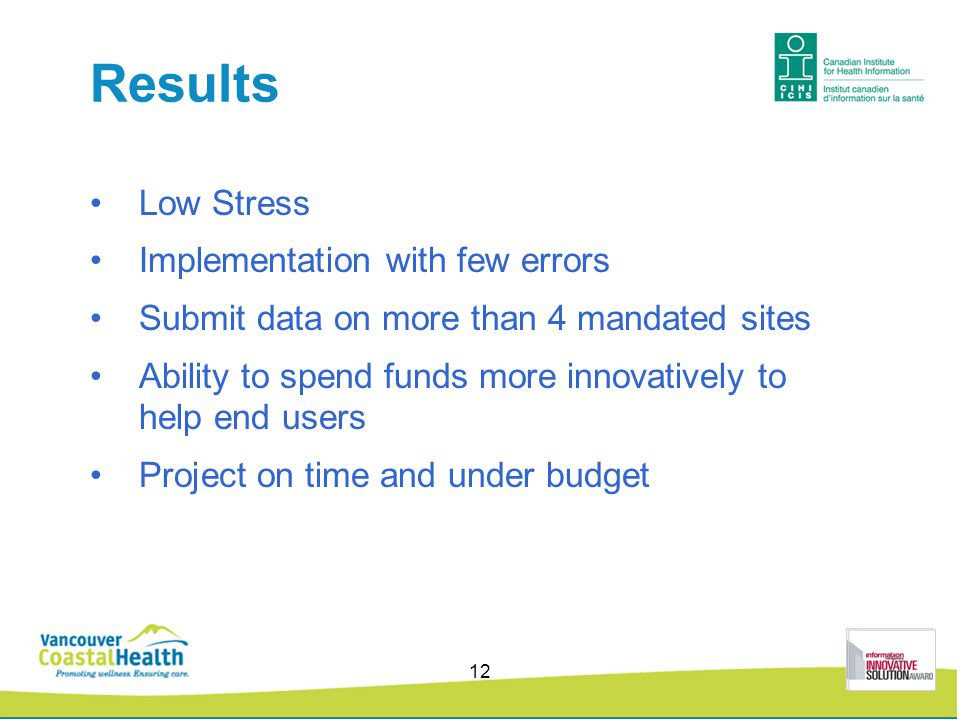Results Low Stress Implementation with few errors Submit data on more than 4 mandated sites Ability to spend funds more innovatively to help end users Project on time and under budget 12