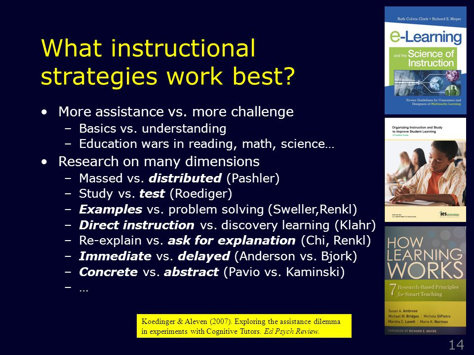 14 What instructional strategies work best. More assistance vs.