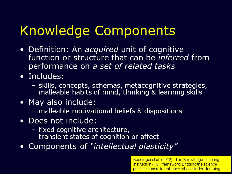 34 Knowledge Components Definition: An acquired unit of cognitive function or structure that can be inferred from performance on a set of related tasks Includes: –skills, concepts, schemas, metacognitive strategies, malleable habits of mind, thinking & learning skills May also include: –malleable motivational beliefs & dispositions Does not include: –fixed cognitive architecture, transient states of cognition or affect Components of intellectual plasticity Koedinger et al.