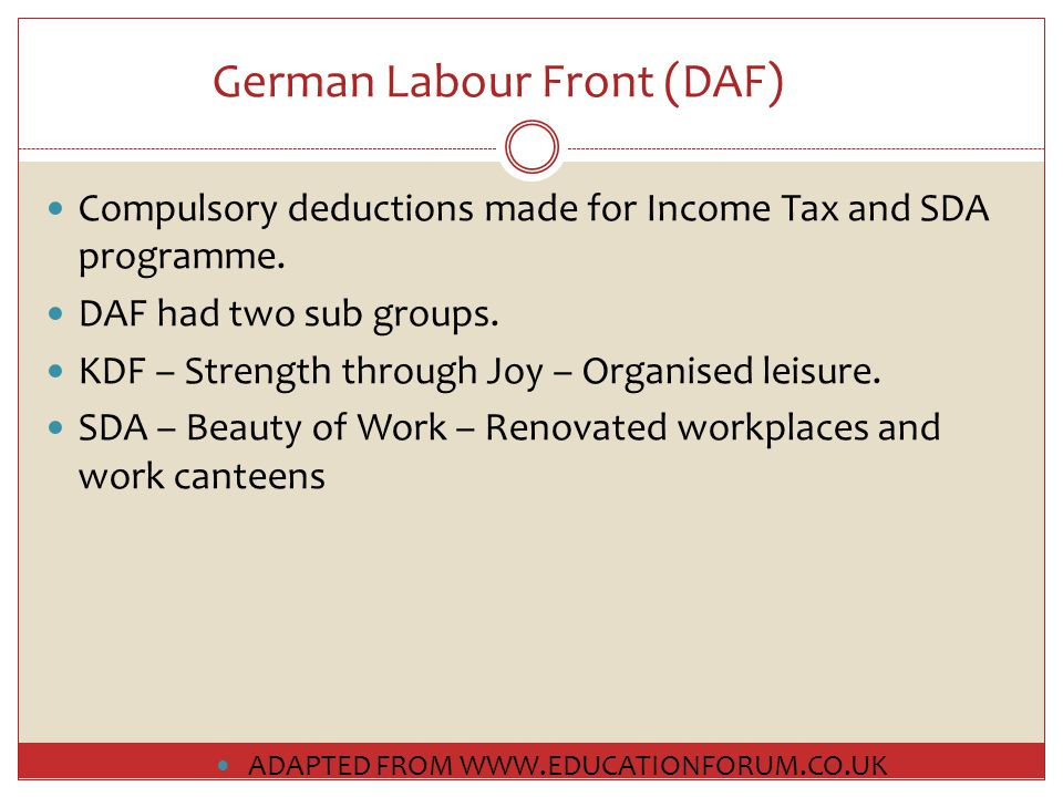 German Labour Front (DAF) Compulsory deductions made for Income Tax and SDA programme.