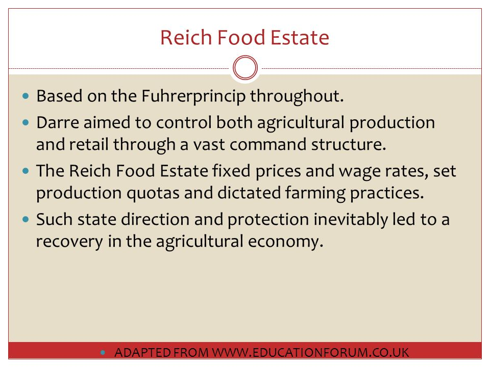 Reich Food Estate Based on the Fuhrerprincip throughout.