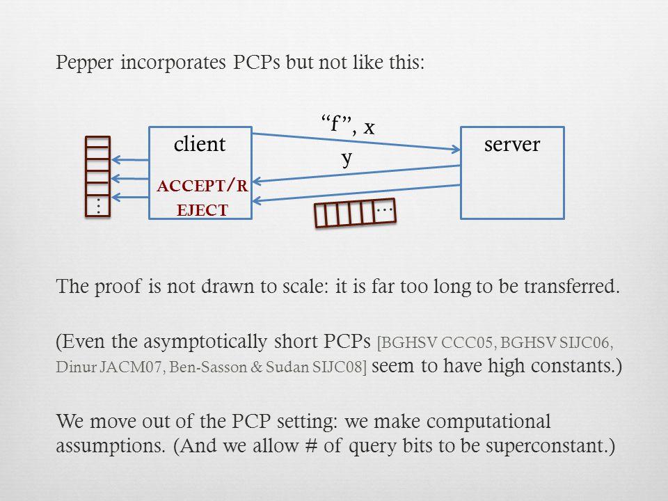 f y client server w commit request commit response, x query vectors: q 1, q 2, q 3, … ✔ response scalars: q 1  w, q 2  w, q 3  w, … ACCEPT / REJECT checks queries ✔