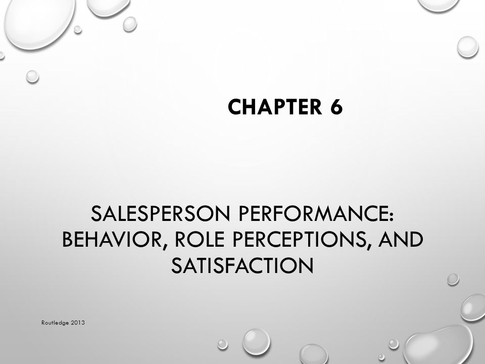 SALES PERCEPTIONS OF THE JOB Routledge 2013