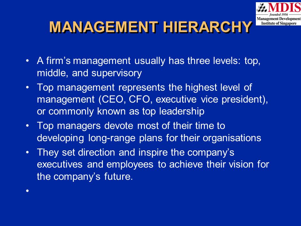 MIDDLE MANAGEMENT Middle management is the second tier in the management hierarchy and includes positions such as general managers, plant managers, division managers, and branch managers Focus on specific operations, products, or customer Develop plans to implement the firm's strategic plans They budget for product development, identify new uses for products, and improve training and motivation.