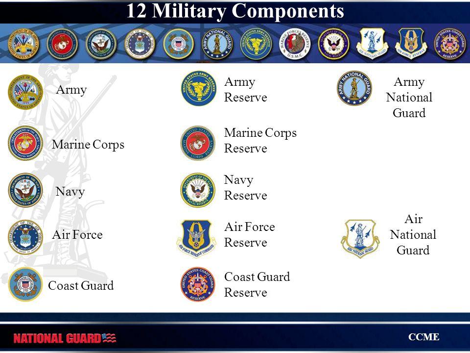CCME Army Marine Corps Navy Air Force Coast Guard Coast Guard Reserve Army Reserve Marine Corps Reserve Navy Reserve Air Force Reserve Army National G