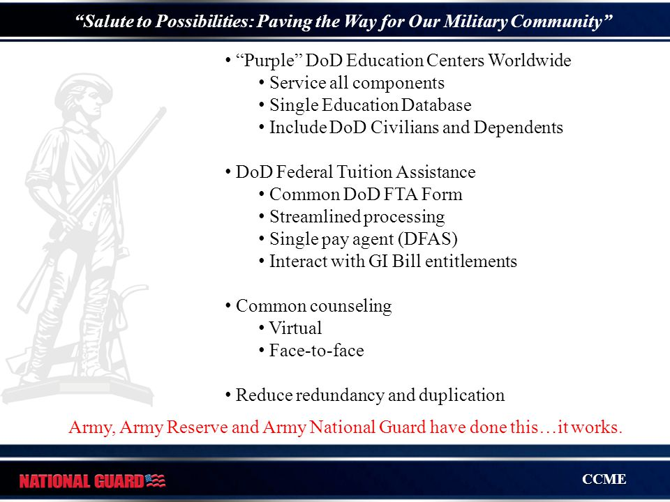 """CCME """"Salute to Possibilities: Paving the Way for Our Military Community"""" """"Purple"""" DoD Education Centers Worldwide Service all components Single Educa"""