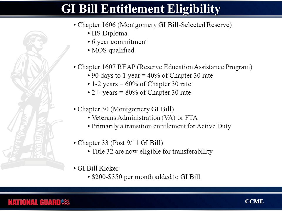 CCME GI Bill Entitlement Eligibility Chapter 1606 (Montgomery GI Bill-Selected Reserve) HS Diploma 6 year commitment MOS qualified Chapter 1607 REAP (
