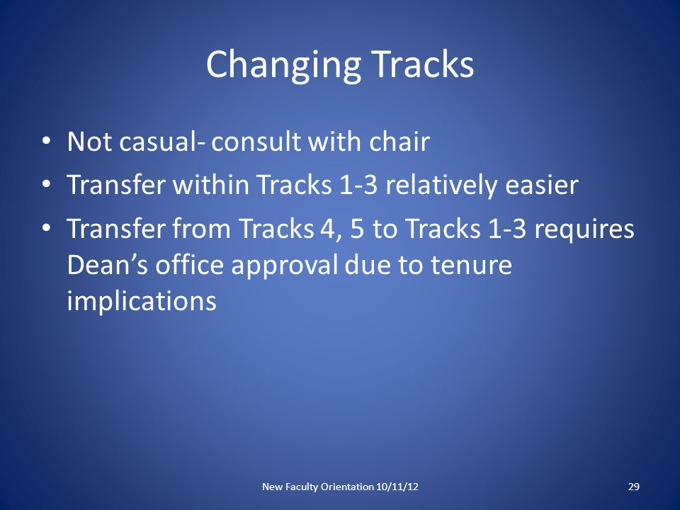 Changing Tracks Not casual- consult with chair Transfer within Tracks 1-3 relatively easier Transfer from Tracks 4, 5 to Tracks 1-3 requires Dean's office approval due to tenure implications New Faculty Orientation 10/11/1229