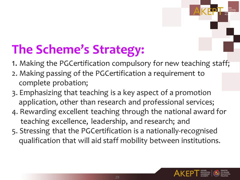 29 The Scheme's Strategy: 1.Making the PGCertification compulsory for new teaching staff; 2.