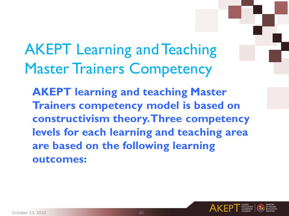 AKEPT Learning and Teaching Master Trainers Competency AKEPT learning and teaching Master Trainers competency model is based on constructivism theory.