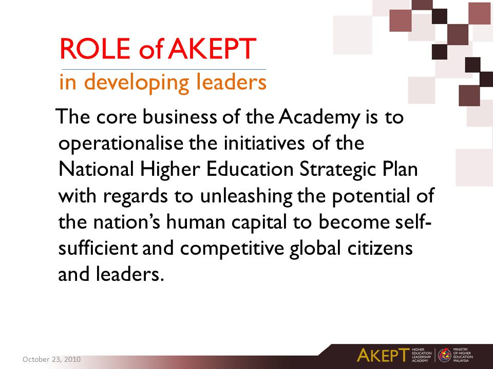 The core business of the Academy is to operationalise the initiatives of the National Higher Education Strategic Plan with regards to unleashing the potential of the nation's human capital to become self- sufficient and competitive global citizens and leaders.