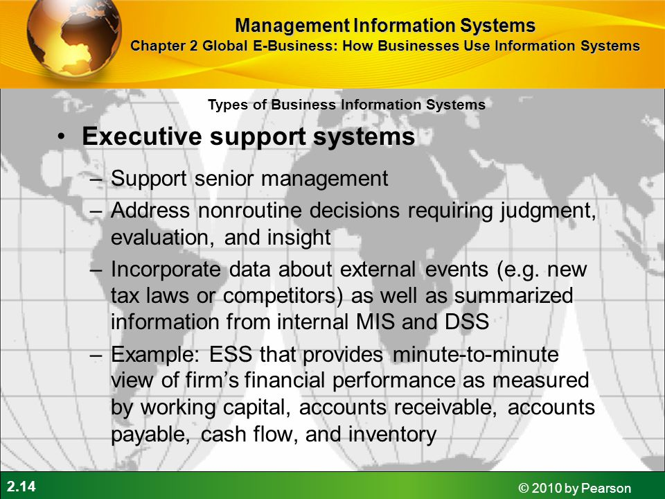 2.14 © 2010 by Pearson Executive support systems –Support senior management –Address nonroutine decisions requiring judgment, evaluation, and insight