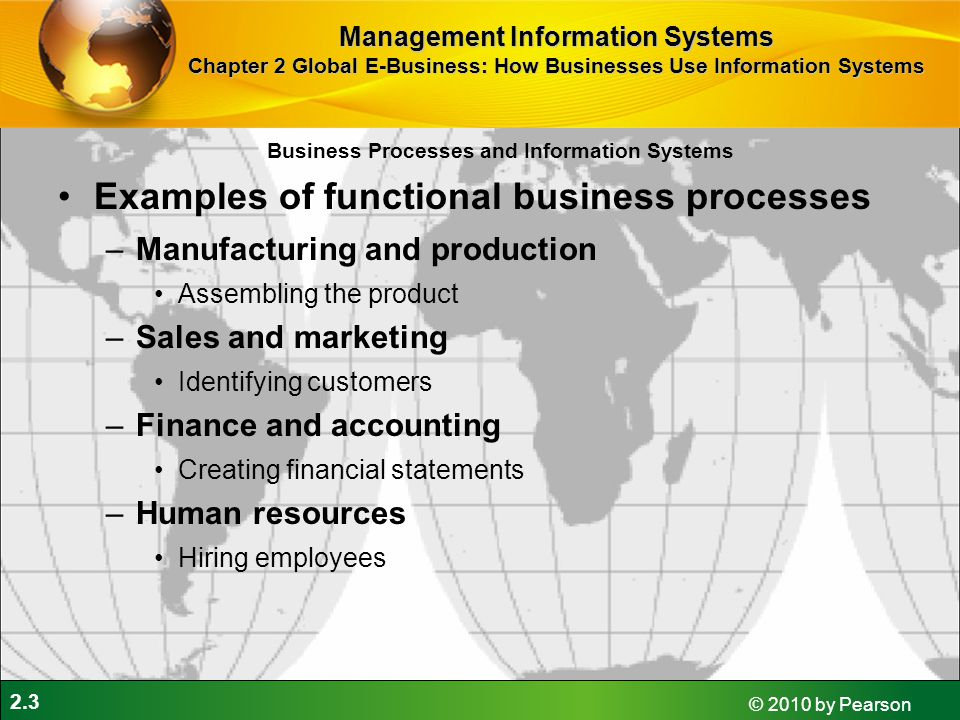 2.3 © 2010 by Pearson Examples of functional business processes –Manufacturing and production Assembling the product –Sales and marketing Identifying