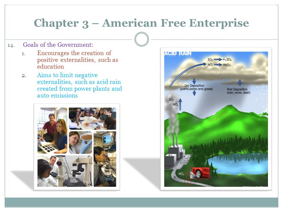 Chapter 3 – American Free Enterprise 14. Goals of the Government: 1. Encourages the creation of positive externalities, such as education 2. Aims to l