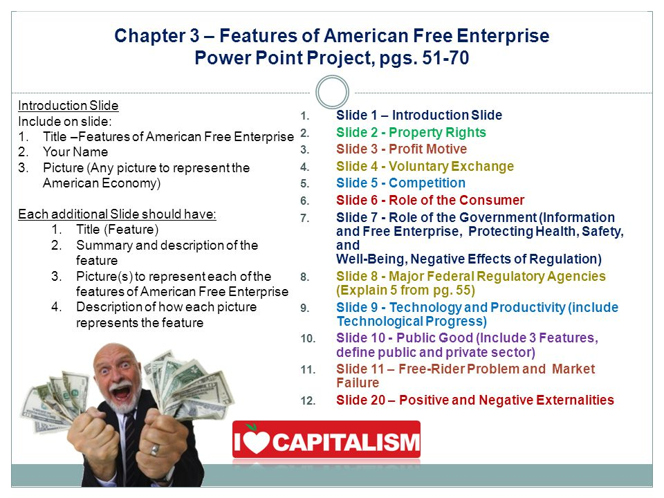 Chapter 3 – Features of American Free Enterprise Power Point Project, pgs. 51-70 Introduction Slide Include on slide: 1.Title –Features of American Fr