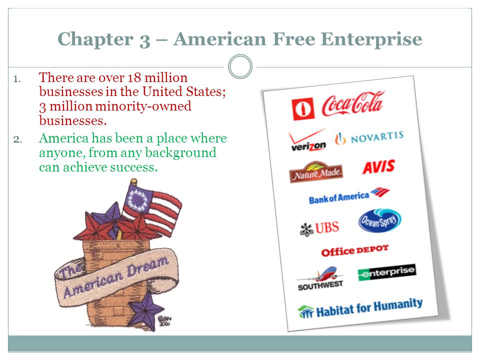 Chapter 3 – American Free Enterprise 1. There are over 18 million businesses in the United States; 3 million minority-owned businesses. 2. America has