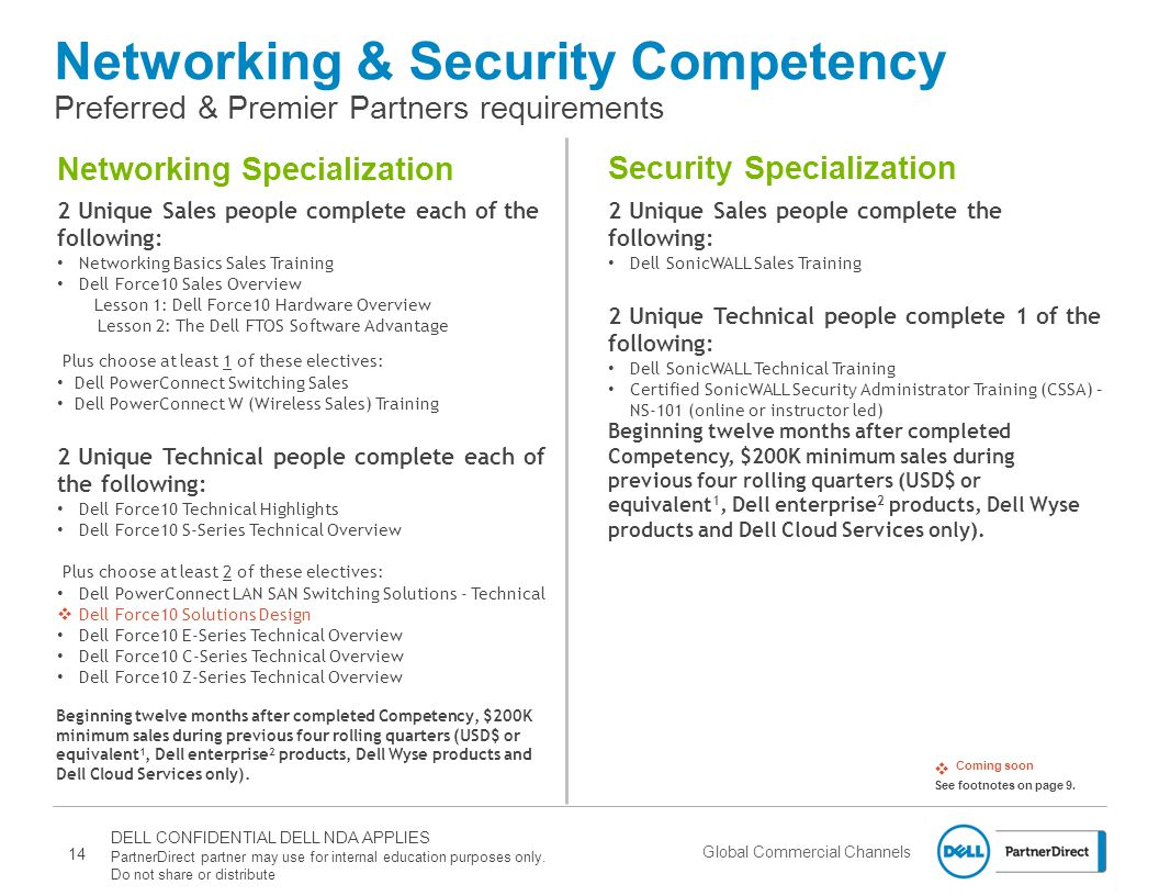 Global Commercial Channels Networking & Security Competency Preferred & Premier Partners requirements 2 Unique Sales people complete each of the following: Networking Basics Sales Training Dell Force10 Sales Overview Lesson 1: Dell Force10 Hardware Overview Lesson 2: The Dell FTOS Software Advantage Plus choose at least 1 of these electives: Dell PowerConnect Switching Sales Dell PowerConnect W (Wireless Sales) Training 2 Unique Technical people complete each of the following: Dell Force10 Technical Highlights Dell Force10 S-Series Technical Overview Plus choose at least 2 of these electives: Dell PowerConnect LAN SAN Switching Solutions - Technical  Dell Force10 Solutions Design Dell Force10 E-Series Technical Overview Dell Force10 C-Series Technical Overview Dell Force10 Z-Series Technical Overview  Coming soon See footnotes on page 9.