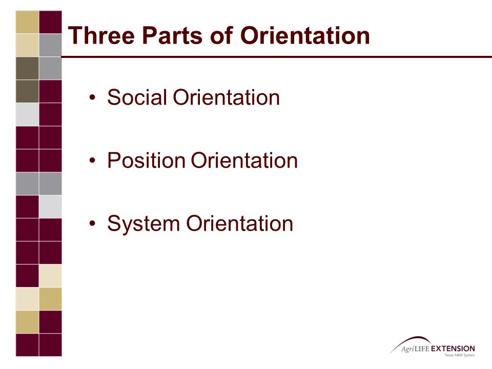 Three Parts of Orientation Social Orientation Position Orientation System Orientation