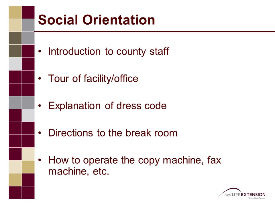Social Orientation Introduction to county staff Tour of facility/office Explanation of dress code Directions to the break room How to operate the copy machine, fax machine, etc.