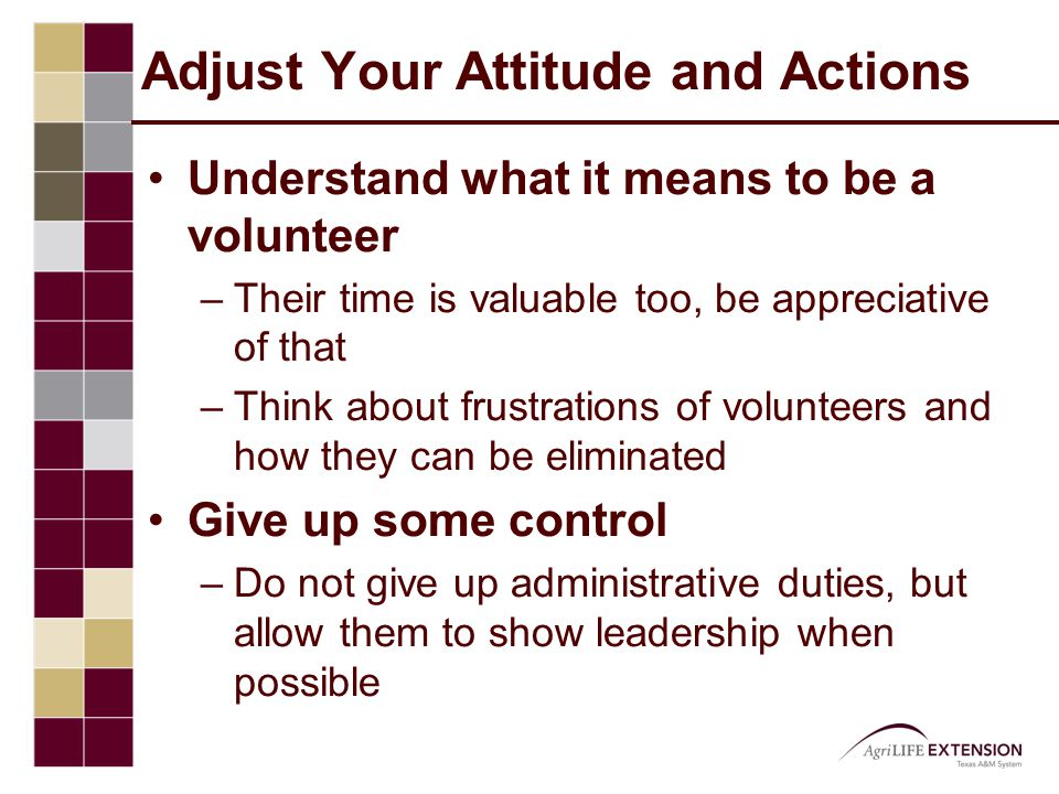 Adjust Your Attitude and Actions Understand what it means to be a volunteer –Their time is valuable too, be appreciative of that –Think about frustrations of volunteers and how they can be eliminated Give up some control –Do not give up administrative duties, but allow them to show leadership when possible