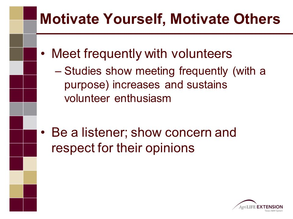 Motivate Yourself, Motivate Others Meet frequently with volunteers –Studies show meeting frequently (with a purpose) increases and sustains volunteer enthusiasm Be a listener; show concern and respect for their opinions