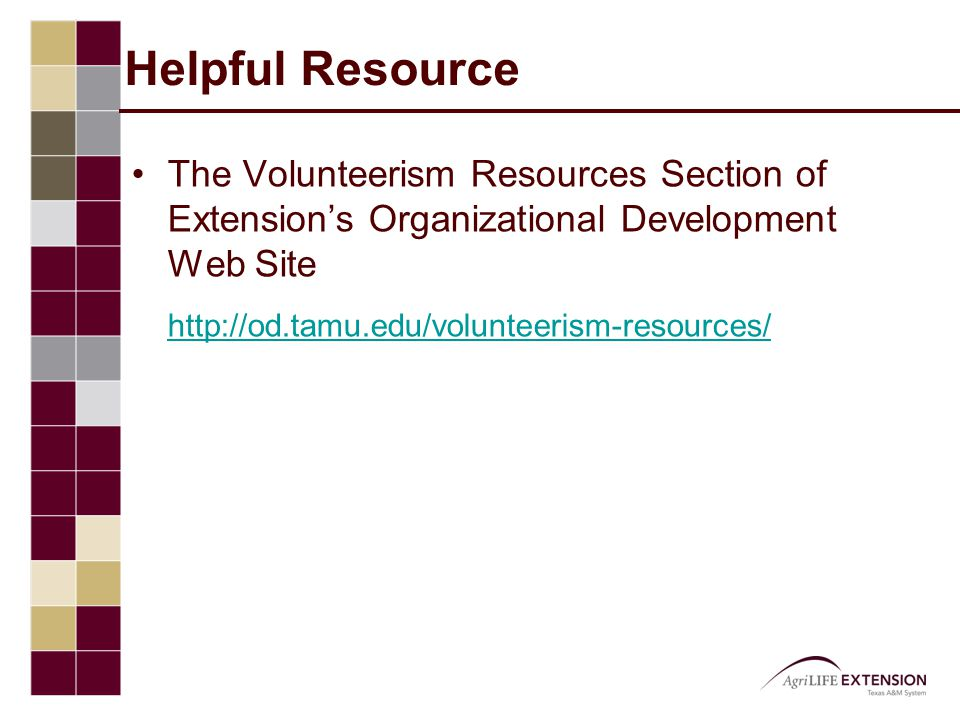 Helpful Resource The Volunteerism Resources Section of Extension's Organizational Development Web Site http://od.tamu.edu/volunteerism-resources/