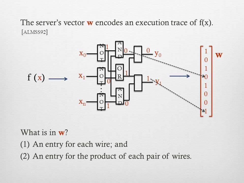 The server's vector w encodes an execution trace of f(x).
