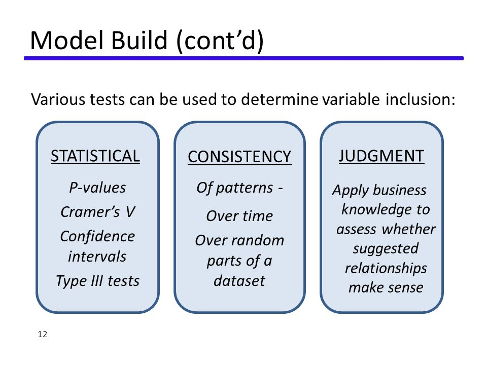 Model Build (cont'd) Various tests can be used to determine variable inclusion: 12 STATISTICAL CONSISTENCY JUDGMENT P-values Cramer's V Confidence intervals Type III tests Apply business knowledge to assess whether suggested relationships make sense Of patterns - Over time Over random parts of a dataset