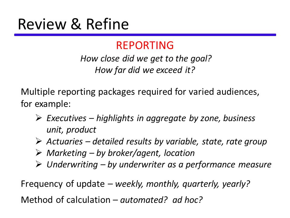 Review & Refine REPORTING How close did we get to the goal.