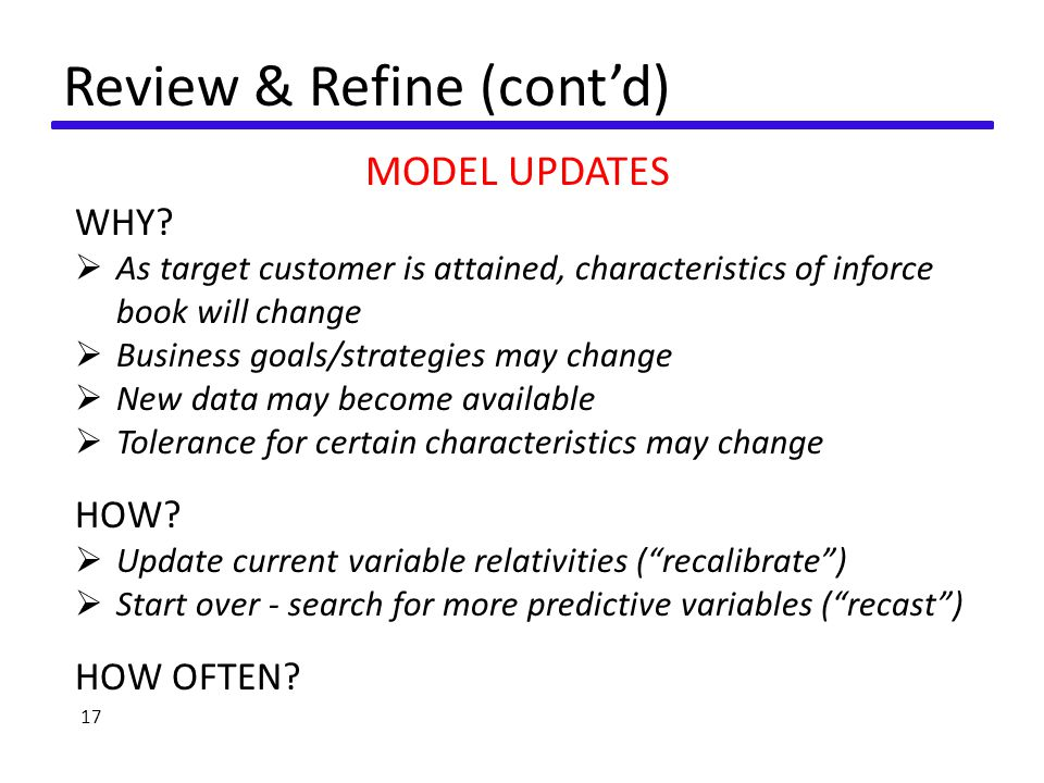 Review & Refine (cont'd) MODEL UPDATES WHY.