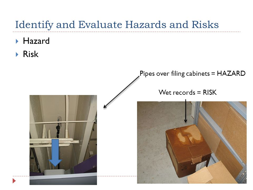 Identify and Evaluate Hazards and Risks  Hazard  Risk Pipes over filing cabinets = HAZARD Wet records = RISK