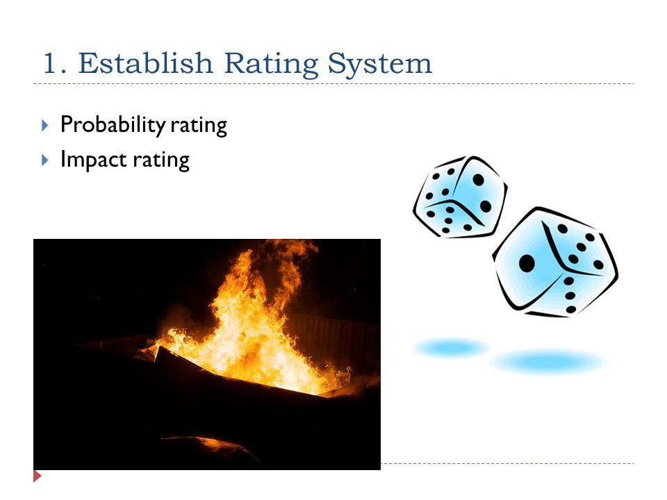 1. Establish Rating System  Probability rating  Impact rating