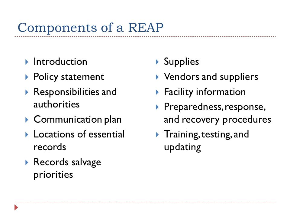 Components of a REAP  Introduction  Policy statement  Responsibilities and authorities  Communication plan  Locations of essential records  Records salvage priorities  Supplies  Vendors and suppliers  Facility information  Preparedness, response, and recovery procedures  Training, testing, and updating
