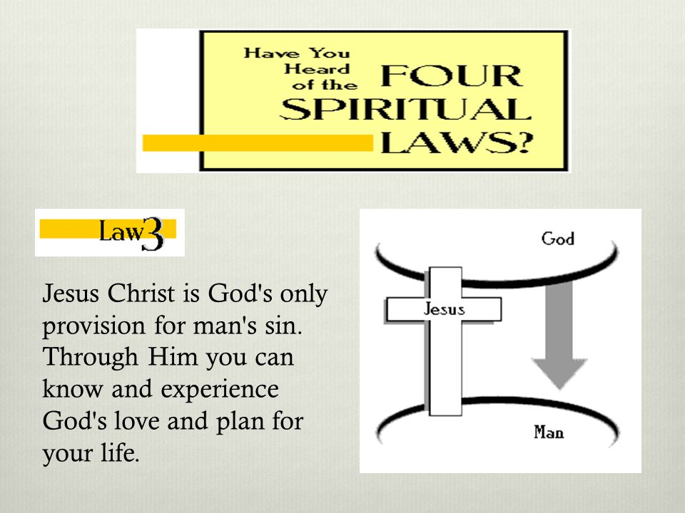 Man is sinful and separated from God. Therefore, he cannot know and experience God's love and plan for his life.